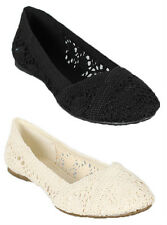 Soda Faddy-S Crochet Ballet Flats Casual Slip On Womens Shoes Cotton Linen
