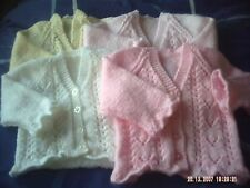 Hand Knitted Baby Girls Lacy Cardigan.