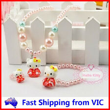 3PCS HELLO KITTY SET Necklace Bracelet Ring Pearls Pendant Girls Kids Party Gift