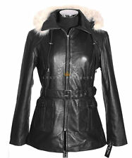Beyonce Black New Ladies Women's Fur Hood Real Soft Sheep Leather Hooded Jacket