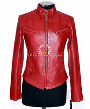Sienna Red Ladies Retro Biker Style Real Soft Washed Lambskin Leather Jacket