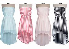 Sexy Striped Strapless Tube Dress Tunic Chiffon Sheer Hi-Low Mini Cocktail Dress