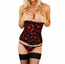 Black with Red Flowers Underbust Corset Bustier Cincher Hook & Eye, Laced Back