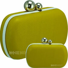 Ladies Leather Style Yellow White Ball Clasp Rigid Clutch Bag Evening Handbag