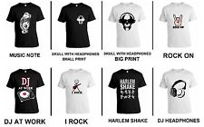 COOL DJ MUSIC NOTE ROCK ON HEADPHONES HARLEM SHAKE I ROCK PARTY COOL T-SHIRT