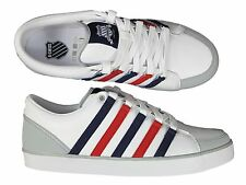 BRAND NEW MENS K.SWISS GOWMET II VNZ WHITE/NAVY/RED LACE UP LEATHER TRAINERS