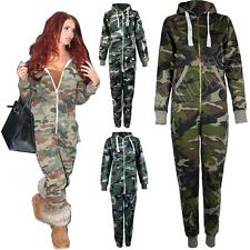 Adult Ladies Mens Camo Camouflage Fleece Onesie Jumpsuit All In One Plus Size S