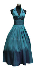 Teal Bridesmaid Dress Rockabilly Pinup Cocktail Dress made to order in UK 6-26