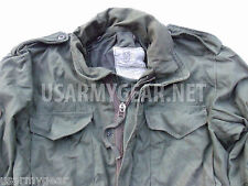 Vintage Made in USA Military OD Green Army M-65 Field Coat w Patches + New Liner