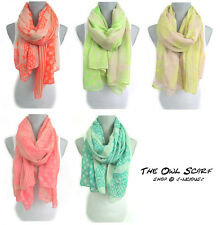 OWL STRIPE POLKA DOT SCARF lightweight colorful spring summer designer beachwrap
