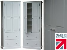Solid Wood Cupboard, 6ft White Painted Linen,Shoe,Pantry Kitchen Storage Cabinet