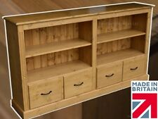Solid Pine Bookcase with Drawers, 6ft Wide Extra Deep Adjustable Display Unit