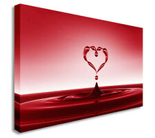 Abstract Pink / Red Heart Water Splash Wall Picture Canvas Art Cheap Print