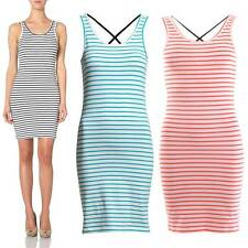 Vero Moda Nanna Striped Dress - White Black/Blue/Coral - UK 8, 10, 12, 14