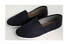 ADULT MENS WOMENS SLIP-ON BOAT SHOES CANVAS SLIPPER NAVY (6 ADULT SIZES 6-11)