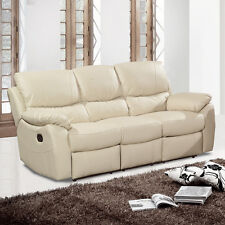 Wandsworth Beige Cream Leather Recliner Sofas 3 Seater 2 Seater & Armchair