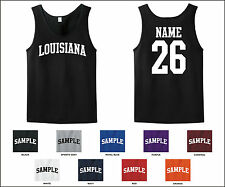 State of Louisiana Custom Personalized Name & Number Tank Top Jersey T-shirt