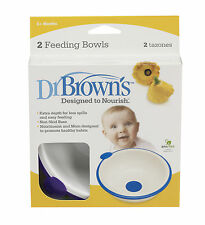Dr Brown's Designed to Nourish Bowl 2 Pk Feeding Baby Solid Food Various Colours