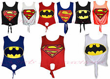 Ladies Vest Batman Superman Womens Crop Top Superhero T Shirt Logo Print Knot