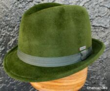 NEW KANGOL FUR FELT Fedora Trilby Green Short Stingy Brim Oktoberfest CRUSHABLE