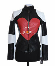 Kylie Red Heart Ladies Biker Style Fashion Retro Real Soft Sheep Leather Jacket