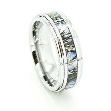 7mm Tungsten Carbide Abalone Shell Inlay Wedding Ring