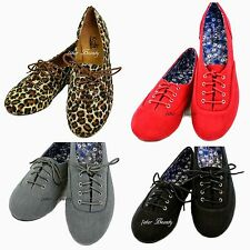 Womens Oxfords Lace Up Classic Flat Shoes Black,Red, Grey,Leopard. 6.7.8.9.10.11