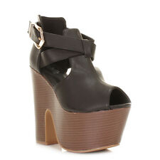 WOMENS HGH HEEL DEMI WEDGE PLATFORM STACKED BUCKLE CUT OUT SHOE LADIES SIZE 3-8