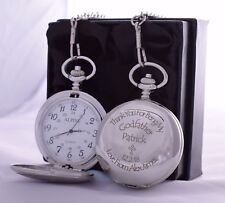Personalised Pocket Watch in Gift Box For Godfather/Godson/Christening/Baptism