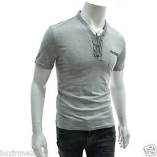 (DK30) TheLess Slim Fit Stylish Button Point Pocket Patched Short Sleeve Tshirts