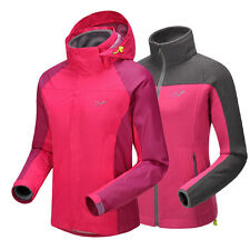 Womens Hiking 2in1 Fleece Jackets Waterproof Climbing Glof Fish Outdoor Clothing