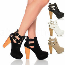 WOMENS LADIES BLOCK HIGH HEEL PLATFORM ZIP BUCKLE ANKLE SHOE BOOTS BOOTIES SIZE