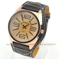 6Color Luxury Man Number Oversize Gold Dial Big Leather Band Men Boy Wrist Watch