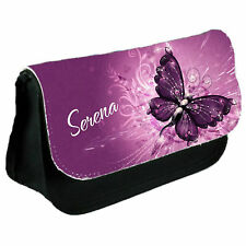 Personalised Purple Butterfly Pencil Case & College Bag Gift for Back to School