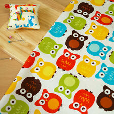 By the 1/2yd or 1yd 100% Cotton Fabric Owls Print Home Décor Curtain Craft o-053