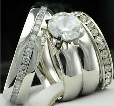 His Hers 4 pcs Womens Engagement Stainless Steel & Mens Wedding Bridal Rings Set