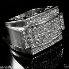 925 Silver Band Micropave CZ AAA Crystal Men's Hip Hop Bling Iced Out Pinky Ring
