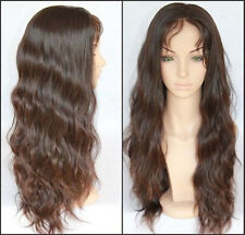 loose long body wave 100% indian remy human hair front/full lace wigs 4#