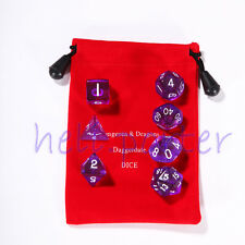 TRPG games Dungeons & Dragons Dice set of 7 Translucent Purple with bag option