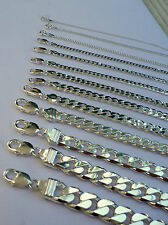 "1MM -15MM MEN'S WOMEN'S 925 STERLING SILVER CUBAN LINK CHAIN NECKLACE 16""-36"""