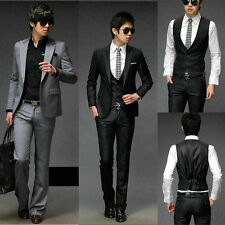Cool Men's Stylish One Button Slim Fit Formal Dress Suit Blazers IN Black Grey