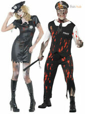 Mens Ladies Zombie Policeman Police Woman Halloween Fancy Dress Costume Outfit
