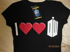 Dr Who Doctor Who Juniors Fitted Tee I LOVE DR WHO T-Shirt Officially Licensed