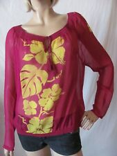 New LUCKY BRAND Dale Hope Womens Purple Silk Claire Hibiscus Peasant Top $119