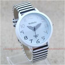 Fashion Zebra Stripes Curved Mirror Leather Women Lady Girl Quartz Wrist Watch
