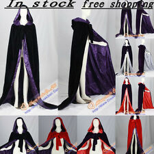 New Purple Cape/Cloak Hooded Velvet Gothic Wicca Robe Medieval Larp Wedding