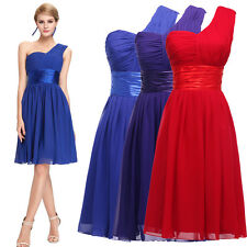 One Shoulder RED Evening Bridesmaid Party Gowns Cocktail Homecoming Short Dress