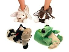WOMENS GIRLS BOYS NOVELTY PLUSH SLIPPERS BOOTS FROG COW BUNNY LADIES SIZE UK 3-8