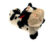 WOMENS GIRLS BOYS NOVELTY PLUSH SLIPPERS BOOTS COW LADIES SIZE UK 3 - 8 (S - L)