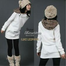 Women's Leopard Hoodies Sweatshirt Top Parka Outerwear Long Coat 2Colors
